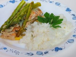 Salmon and Asparagus Served with Rice by Kitteh-Pawz