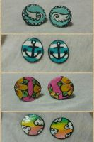 hand painted post earrings by kittyangelprincess