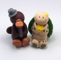 Platypus and Turtle Wedding Cake Topper by HeartshapedCreations