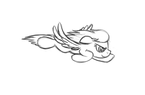 Sketch: Flying Rainbow Dash by drawponies