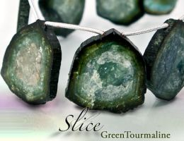 Green Tourmaline Slice by BeadsofCambay