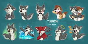 Tuskyn and muskie telegram stickers part 2 by pandapaco