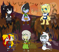 Assorted Chibis - Halloween OC Party 2 by Dragon-FangX
