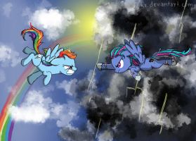 Rainbow Dash and Grayscale Force by Fluka