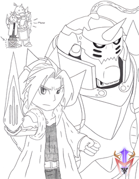 [Cubicle Drawing 17] - Elric Brothers by DragoonMyuutsu