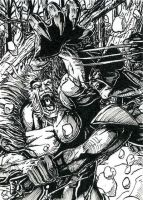 Wolverine Sabretooth ATC Inks by DKuang