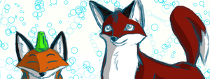 Foxes and Bubbles by Monanico