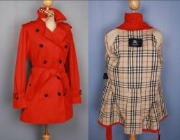 Womens Red Trench Coat by jomadesignervintage
