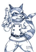 Daily Sketches Rocket Raccoon by fedde