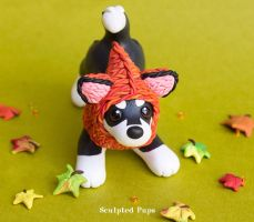 Husky pup with a fox hat commission by SculptedPups