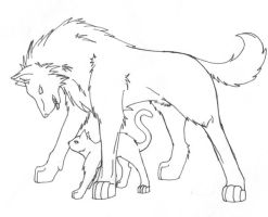 Wolf and Cat Sketch by Lord-Amitai