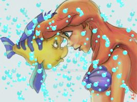 Ariel And Flounder 2014h by BrianTyson