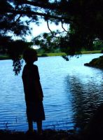 silhouettes by the pond by mirandapearl