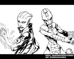 Asari and Salarian: Inked by RenegadeCharles