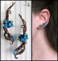 Blue flowers earpins by JSjewelry
