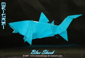 Origami Blue Shark by rjonesdesign