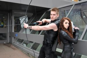 Black Widow and Hawkeye cosplay by Arorea