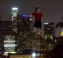 Taylor Swift Towering Over a City by joe116able