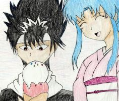 Hiei and Botan with ice cream by shadowkoneko
