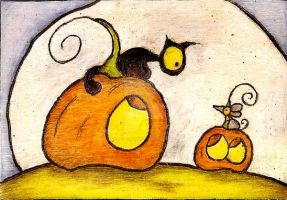 Black Cat And Mouse On Top Of Pumpkin by Darkcloudsabout