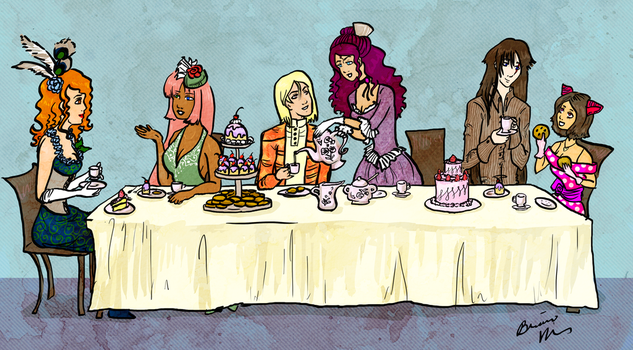 Tea Party in Color by Snowy-Dragoness