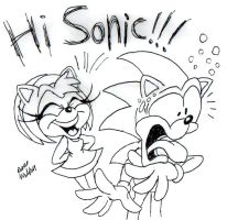 Amy surprises Sonic by Beau-Skunk