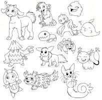 Pokemon Lineart by darlimondoll