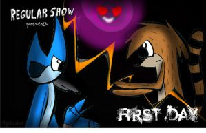 Regular Show Title Card- First Day by mysticakez