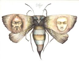 the Jesus and Mary moth by HOMELYVILLAIN