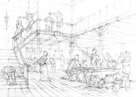A tavern- stage 1, sketch by amilanowska