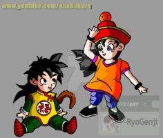 Gohan x Videl Little kids (color) by RyoGenji