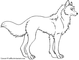 .:Wolf Lineart:. by MS-Paint-Friendly