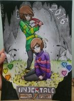 Undertale - Frisk( -_- ) and Chara(OuO) 2016 by FireWeaver360