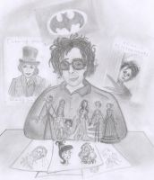 Tim Burton with  his works by Lilostitchfan