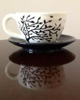 Tree Silhouette Cup and Saucer (Reflection) by DarkAcey