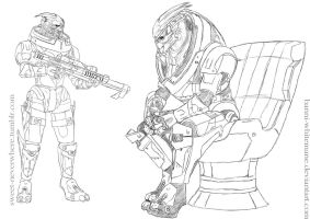 Garrus Sketchdump 1 by Banni-Whitemane