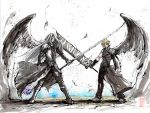 Sephiroth and Cloud Sumi and watercolor by MyCKs