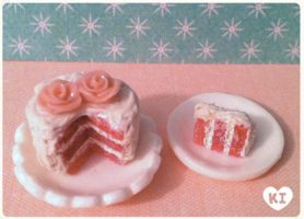 1:12 Miniature Pink Rose Cake by kicat