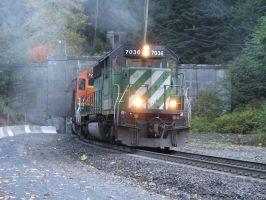 train exiting the tunnel by Finnish-Viking