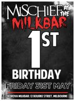 mischief's first birthday flyer! by stephhabes