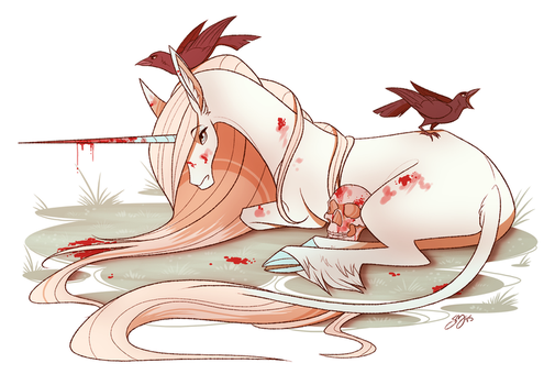 Unicorn with Crows by probablyfakeblonde