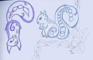 Blue-Purple 'Celtic' Squirrels Concept by StarlightWhispers