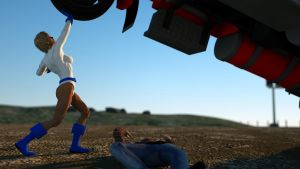 Powergirl lifts truck 4 by DahriAlGhul