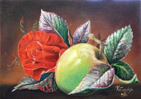 Rose and apple by chebot