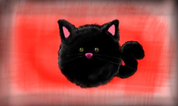 Kitty-ball Black by SwanArt