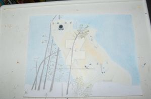 colored pencil drawing of polar bears by mikesphotos-drawings