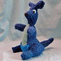 Knit Blue Kangaroo Plushie by CreativeCritters