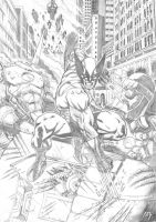 Wolverine vs. Sentinels by adr-ben