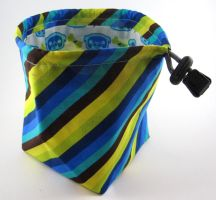 Yellow, Blue, and Brown Diagonal Stripe Dice Bag by Isilian