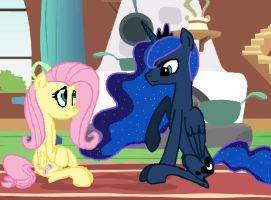 Princess Luna and Fluttershy by chocoqueen112